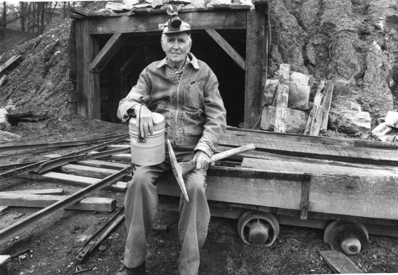 Dunlap Mines Coal Miner Than Hobbs at replica mine entrance Dunlap Coke Ovens last living Dunlap miner when photographed with originla mine tools he used123