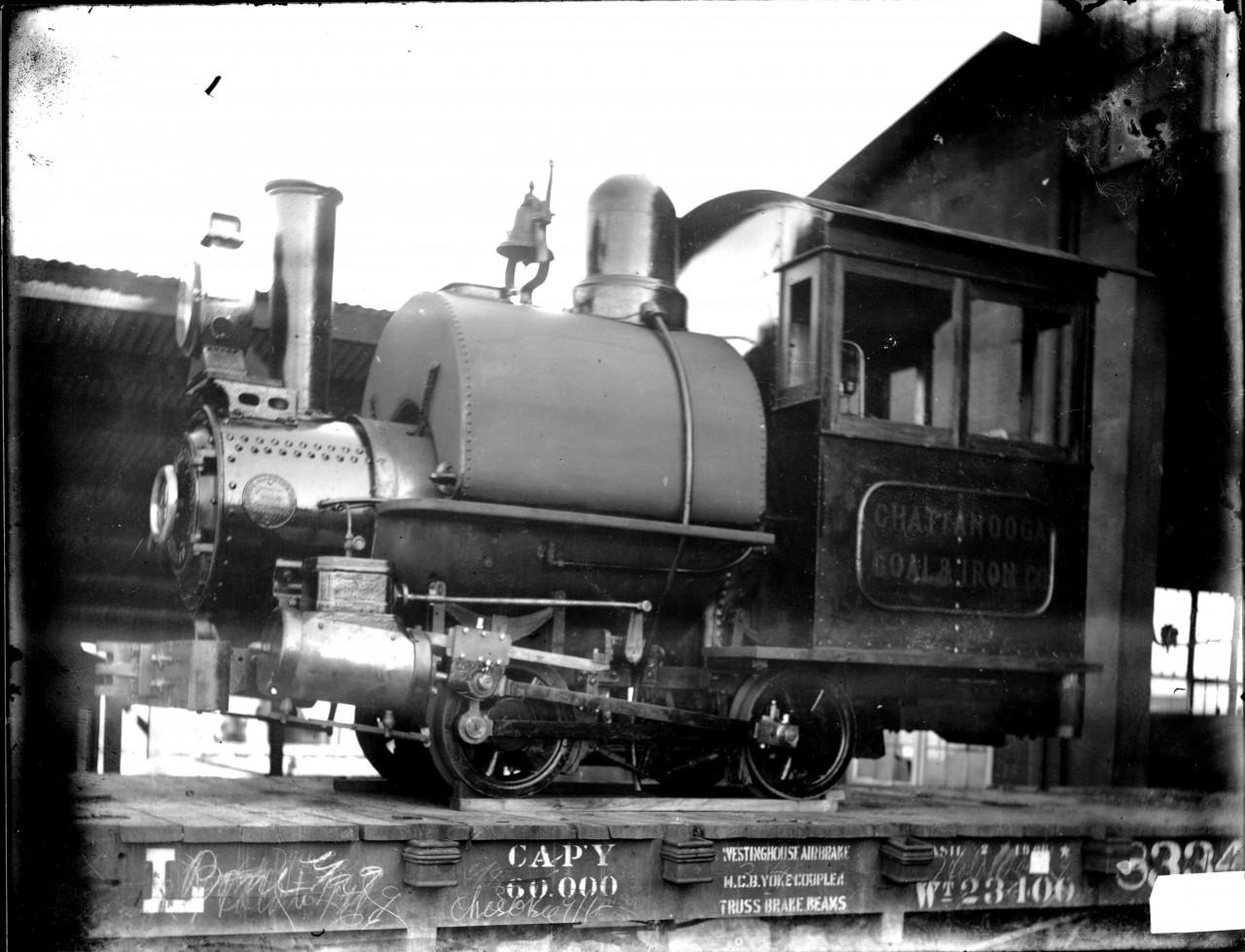 Dunlap Mines Glover mine locomotive dinky eroute to Dunlap from Marietta Georgia  Glover Foundry original photo on glass negative061